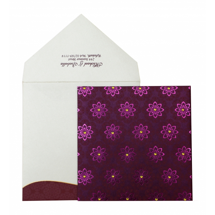 PURPLE SHIMMERY FLORAL THEMED - FOIL STAMPED WEDDING INVITATION : AI-837 - A2zWeddingCards