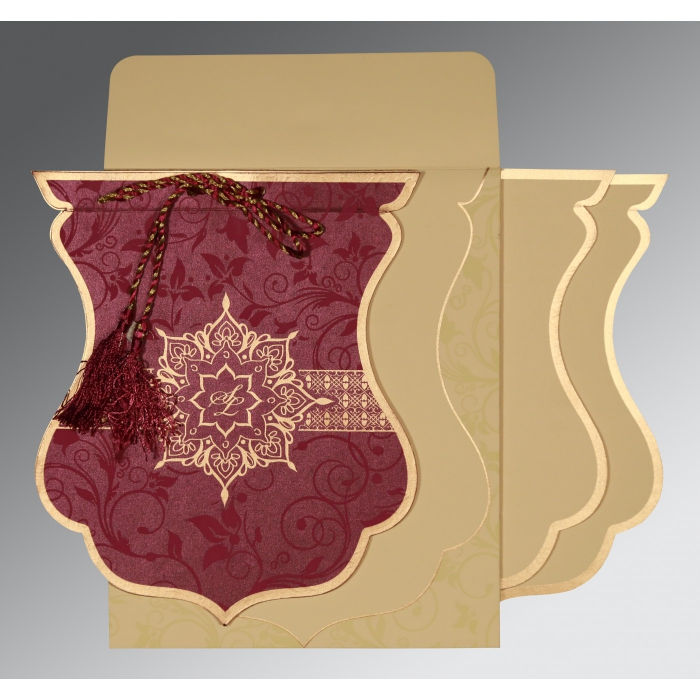 CLARET SHIMMERY FLORAL THEMED - SCREEN PRINTED WEDDING CARD : AG-8229K - A2zWeddingCards