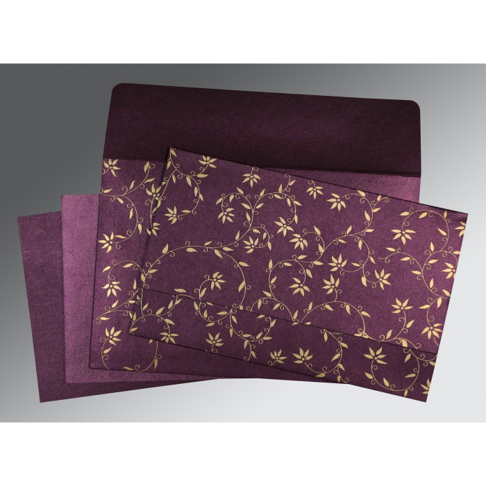 Purple Shimmery Floral Themed - Screen Printed Wedding Invitation : AW-8226P - A2zWeddingCards