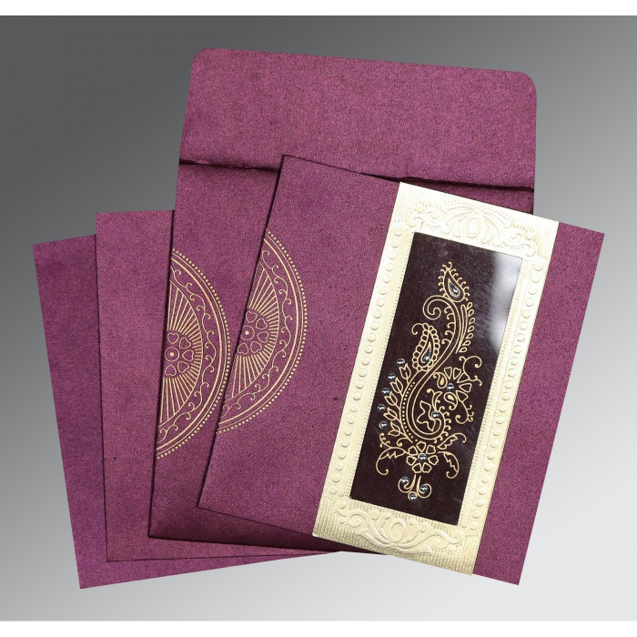 Purple Shimmery Paisley Themed - Foil Stamped Wedding Invitations : AC-8230K - A2zWeddingCards