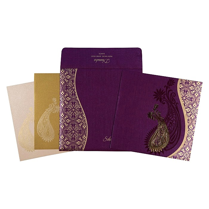 Purple Shimmery Paisley Themed - Foil Stamped Wedding Card : AW-1735 - A2zWeddingCards
