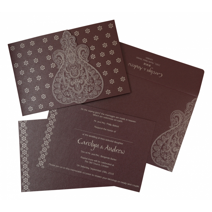 Purple Shimmery Paisley Themed - Screen Printed Wedding Invitation : AW-801C - A2zWeddingCards