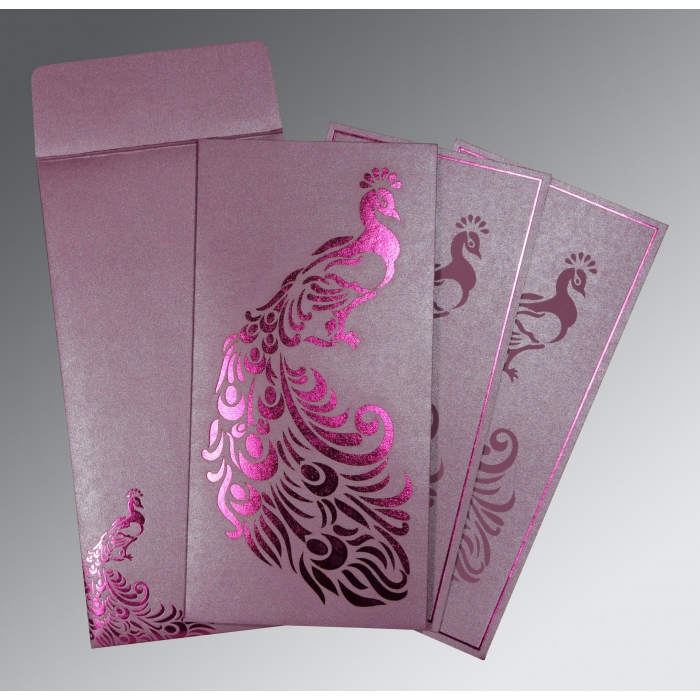ORCHID SHIMMERY PEACOCK THEMED - LASER CUT WEDDING INVITATION : AD-8255F - A2zWeddingCards