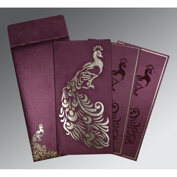 Purple Shimmery Peacock Themed - Laser Cut Wedding Invitation : AIN-8255G - A2zWeddingCards