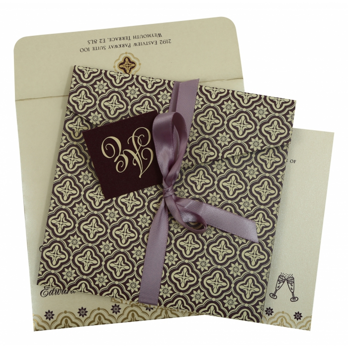 PURPLE SHIMMERY SCREEN PRINTED WEDDING INVITATION : AIN-805C - A2zWeddingCards