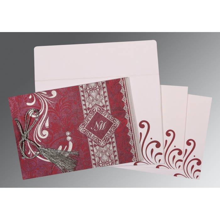 RAISIN SHIMMERY SCREEN PRINTED WEDDING CARD : AG-8223J - A2zWeddingCards
