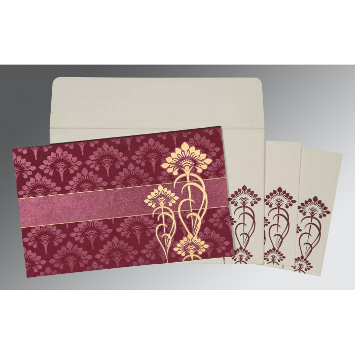 CLARET SHIMMERY SCREEN PRINTED WEDDING CARD : AI-8239B - A2zWeddingCards