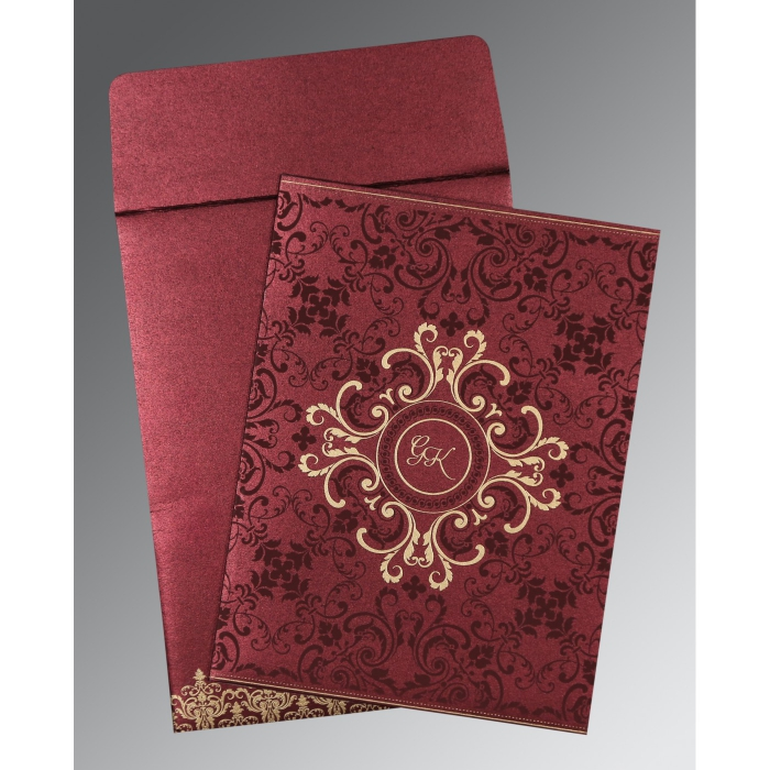 BURGUNDY SHIMMERY SCREEN PRINTED WEDDING CARD : AIN-8244H - A2zWeddingCards