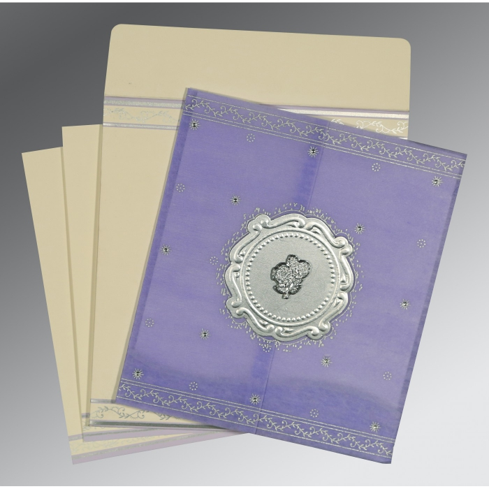 Purple Wooly Embossed Wedding Invitations : AC-8202S - A2zWeddingCards