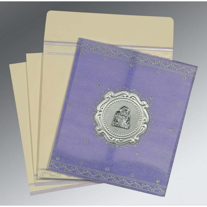 Purple Wooly Embossed Wedding Invitations : AG-8202S - A2zWeddingCards