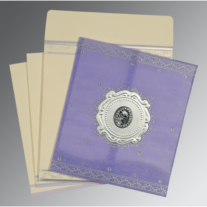 Purple Wooly Embossed Wedding Invitations : AS-8202S - A2zWeddingCards
