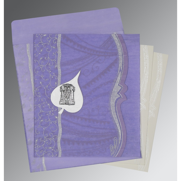 VIOLET SHIMMERY EMBOSSED WEDDING CARD : ASO-8210N - A2zWeddingCards