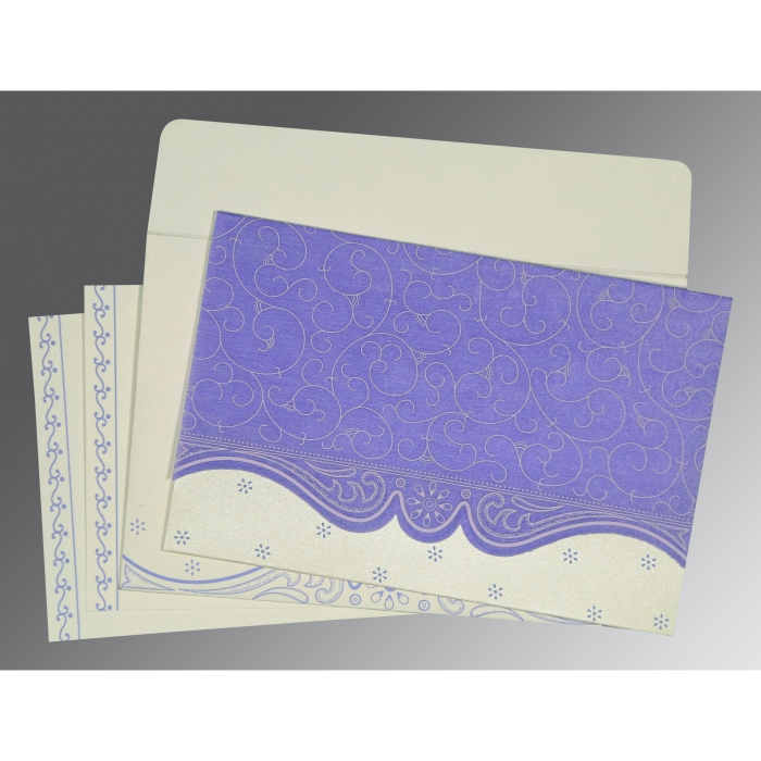 Purple Wooly Embossed Wedding Invitation : ASO-8221E - A2zWeddingCards
