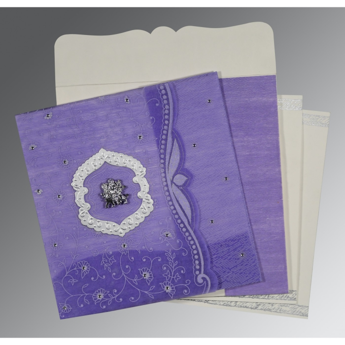 Purple Wooly Floral Themed - Embossed Wedding Invitations : AG-8209C - A2zWeddingCards