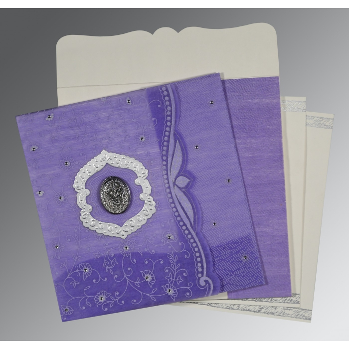 DARK PURPLE SHIMMERY FLORAL THEMED - EMBOSSED WEDDING CARD : AI-8209C - A2zWeddingCards