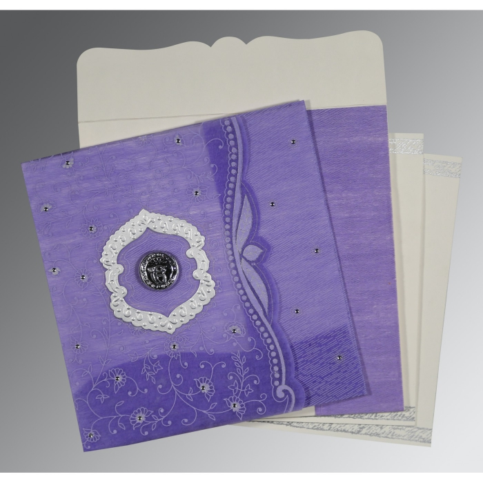 DARK PURPLE SHIMMERY FLORAL THEMED - EMBOSSED WEDDING CARD : AS-8209C - A2zWeddingCards
