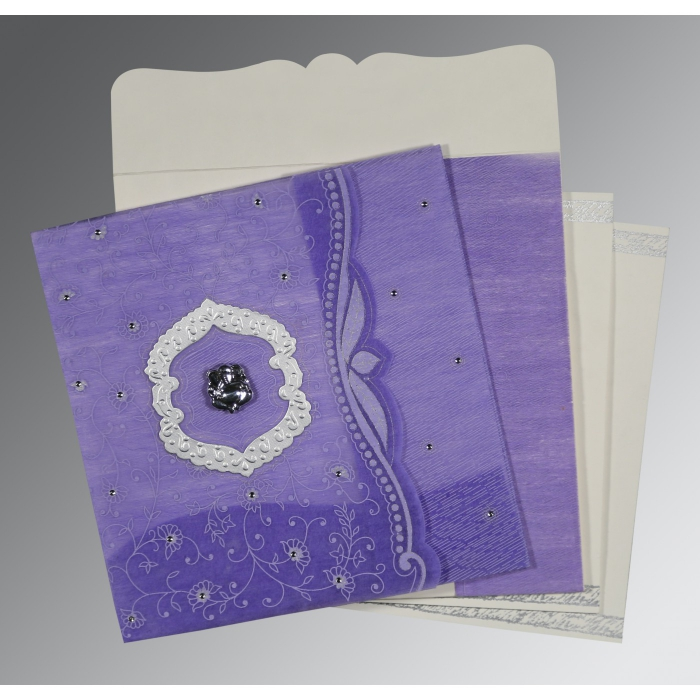 Purple Wooly Floral Themed - Embossed Wedding Card : AW-8209C - A2zWeddingCards