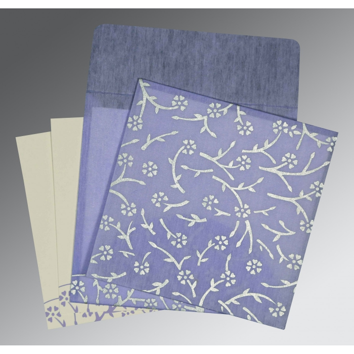 Purple Wooly Floral Themed - Screen Printed Wedding Invitation : AG-8216Q - A2zWeddingCards