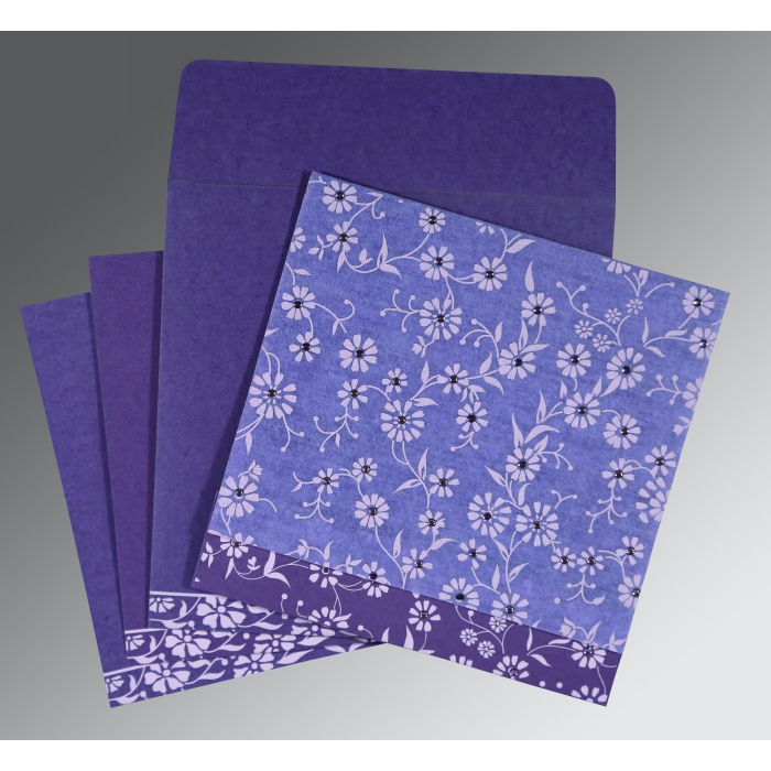PURPLE MATTE FLORAL THEMED - SCREEN PRINTED WEDDING CARD : AG-8222O - A2zWeddingCards