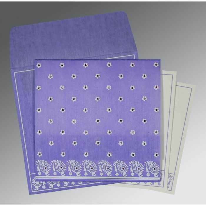 Purple Wooly Floral Themed - Screen Printed Wedding Card : AS-8218H - A2zWeddingCards