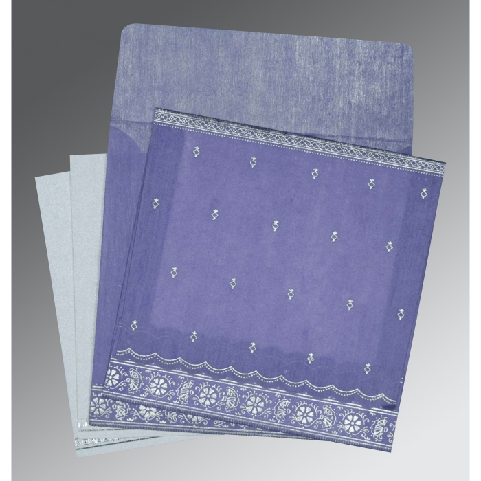 BLUE BELL WOOLY FOIL STAMPED WEDDING CARD : AW-8242C - A2zWeddingCards