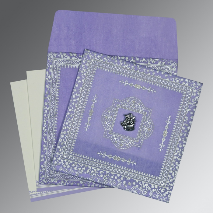 LAVENDER PURPLE WOOLY GLITTER WEDDING CARD : AC-8205F - A2zWeddingCards