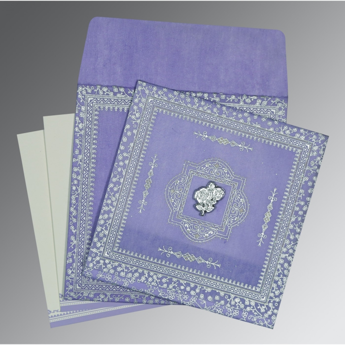 Purple Wooly Glitter Wedding Card : AI-8205F - A2zWeddingCards
