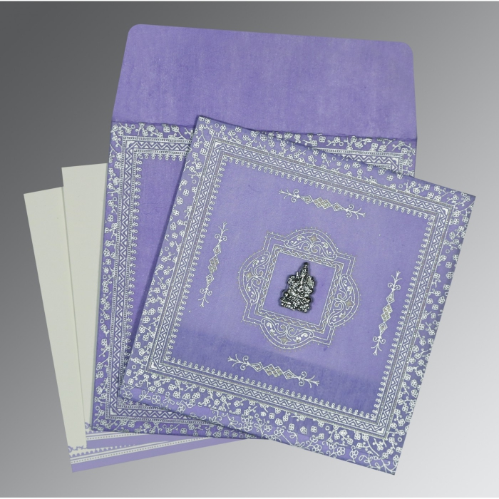 LAVENDER PURPLE WOOLY GLITTER WEDDING CARD : AIN-8205F - A2zWeddingCards