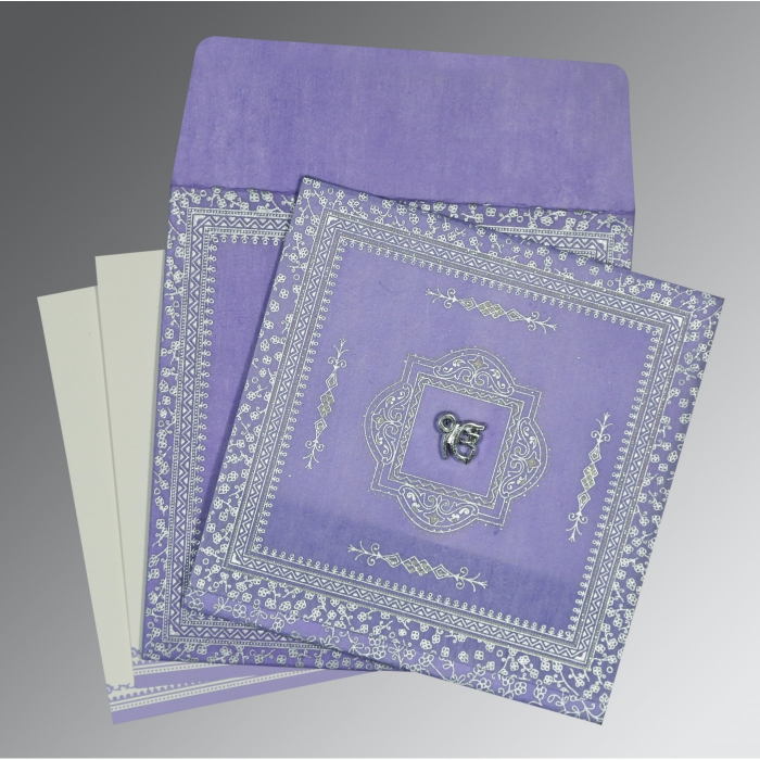 Purple Wooly Glitter Wedding Card : AS-8205F - A2zWeddingCards