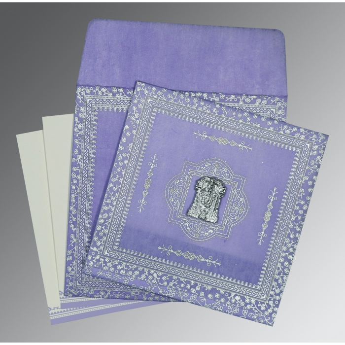 LAVENDER PURPLE WOOLY GLITTER WEDDING CARD : ASO-8205F - A2zWeddingCards