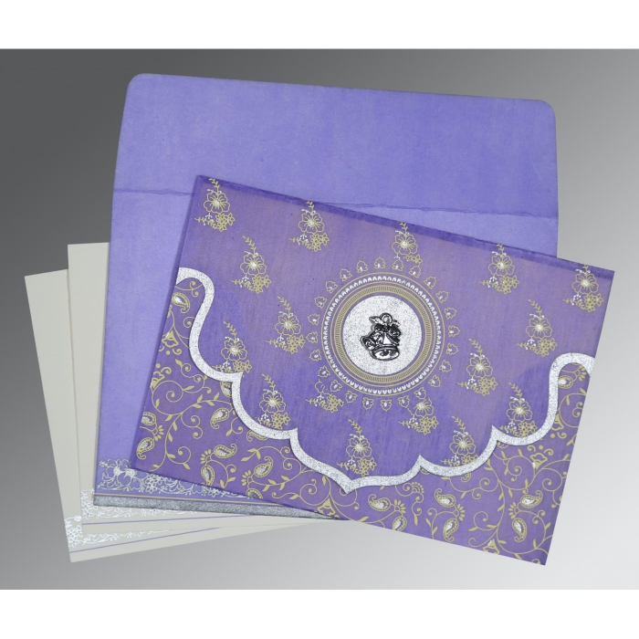 Purple Wooly Screen Printed Wedding Invitation : AC-8207D - A2zWeddingCards