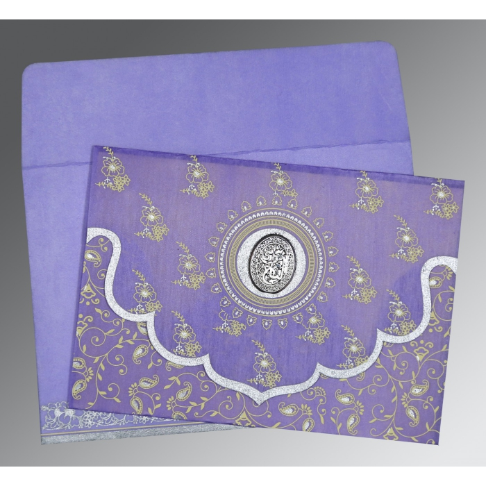 Purple Wooly Screen Printed Wedding Invitation : AI-8207D - A2zWeddingCards
