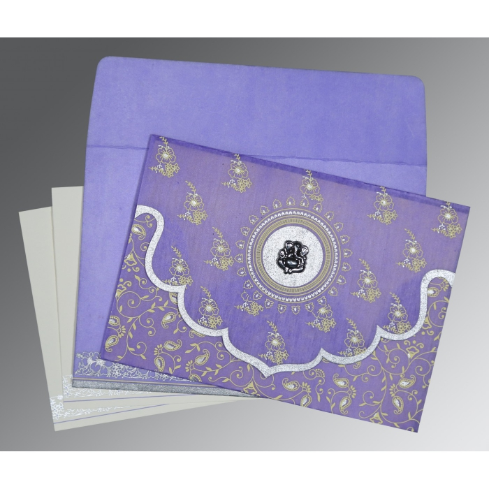PASTEL PURPLE WOOLY SCREEN PRINTED WEDDING INVITATION : AIN-8207D - A2zWeddingCards