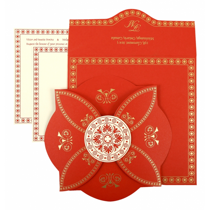 RED BUTTERFLY THEMED - SCREEN PRINTED WEDDING INVITATION : AIN-820B - A2zWeddingCards
