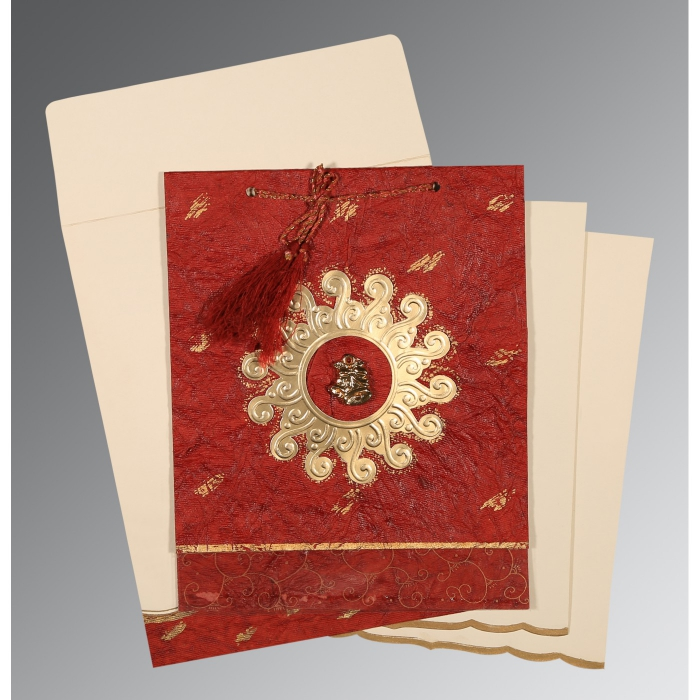 Red Handmade Cotton Embossed Wedding Invitation : AC-1264 - A2zWeddingCards