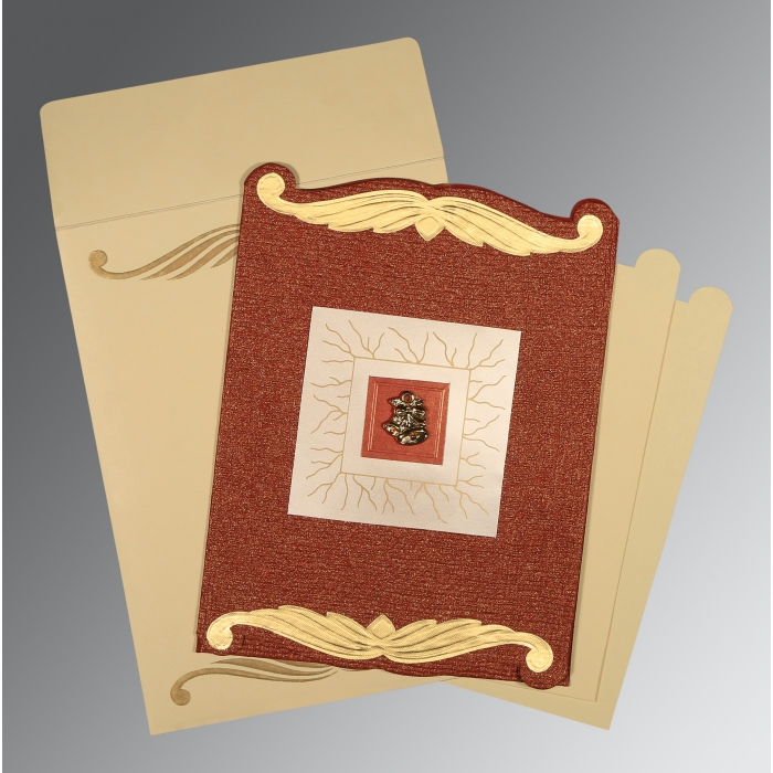BRICK RED GOLD SHIMMERY EMBOSSED WEDDING CARD : AC-1412 - A2zWeddingCards
