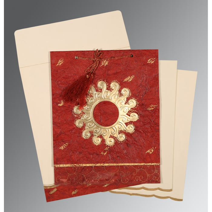 Red Handmade Cotton Embossed Wedding Invitations : AD-1264 - A2zWeddingCards
