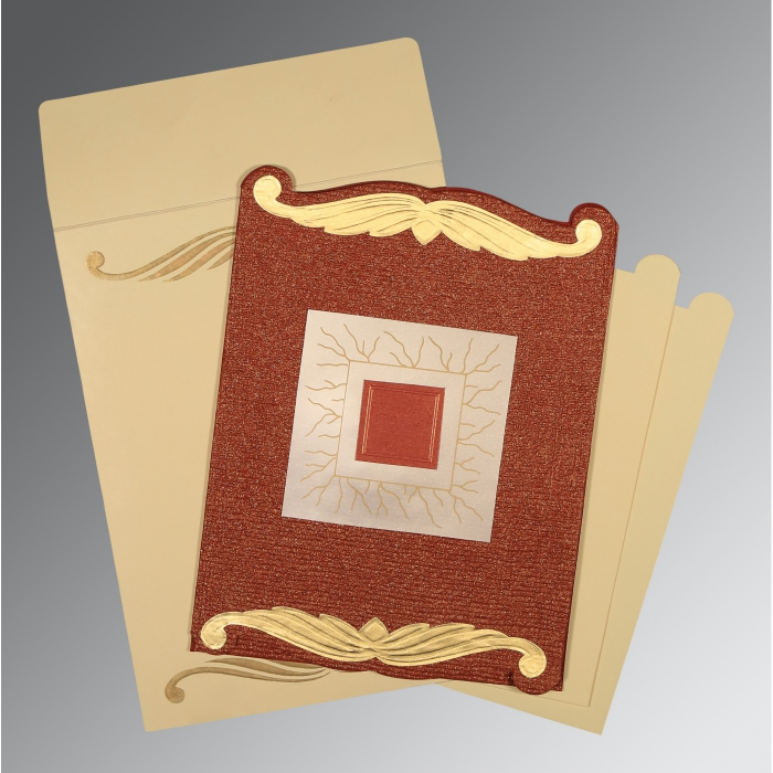 Red Handmade Cotton Embossed Wedding Card : AD-1412 - A2zWeddingCards