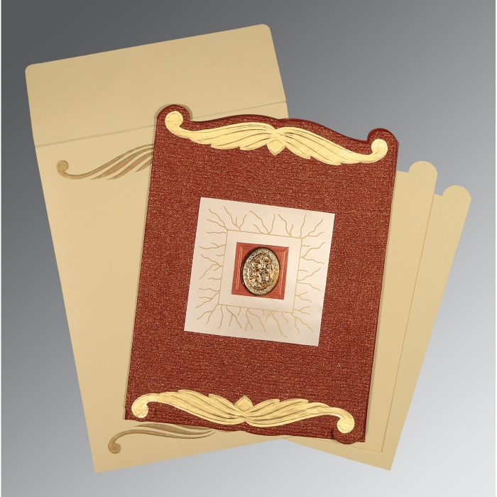 Red Handmade Cotton Embossed Wedding Card : AI-1412 - A2zWeddingCards