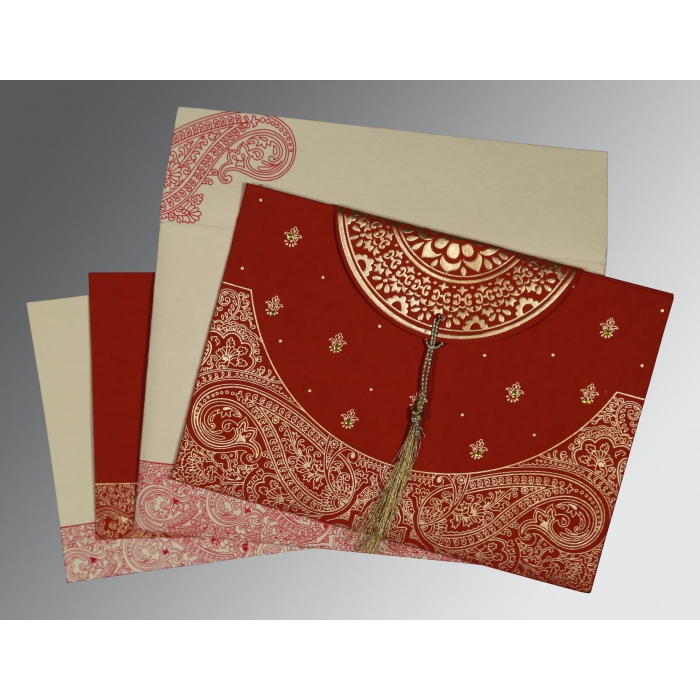 FALU RED HANDMADE COTTON EMBOSSED WEDDING CARD : AIN-8234L - A2zWeddingCards