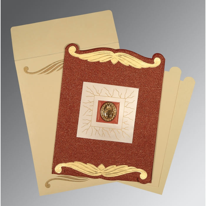 Red Handmade Cotton Embossed Wedding Card : AS-1412 - A2zWeddingCards