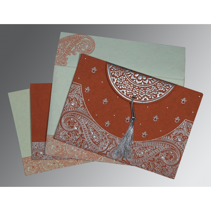 PEARL ORANGE RED HANDMADE COTTON EMBOSSED WEDDING CARD : ASO-8234F - A2zWeddingCards