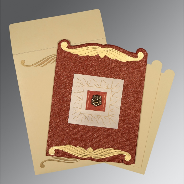 Red Handmade Cotton Embossed Wedding Card : AW-1412 - A2zWeddingCards