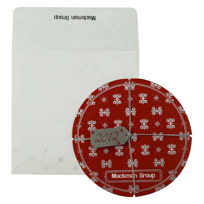 RED HANDMADE COTTON UNIQUE THEMED - SCREEN PRINTED HOLIDAY CARDS : AH-852 - A2zWeddingCards
