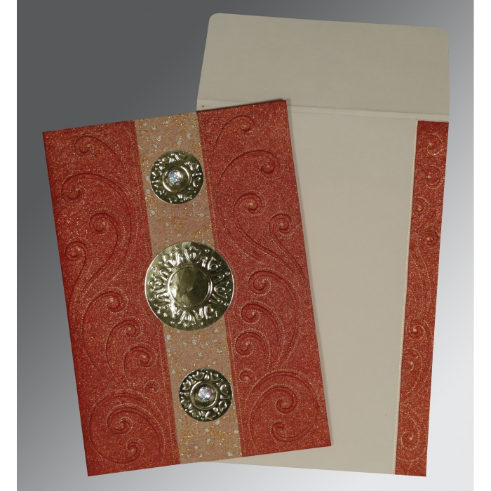 BRICK RED HANDMADE SHIMMER BOX THEMED - EMBOSSED WEDDING CARD : ASO-1389 - A2zWeddingCards