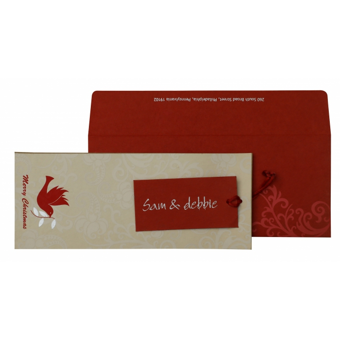 IVORY KHAKI RED HANDMADE COTTON SCREEN PRINTED HOLIDAY CARDS : AH-856 - A2zWeddingCards
