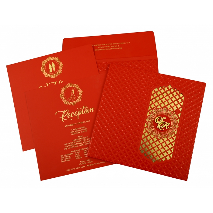 Red Matte Box Themed - Foil Stamped Wedding Invitation : AD-1858 - A2zWeddingCards