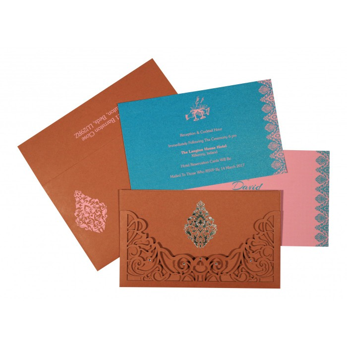 BRICK RED MATTE DAMASK THEMED - LASER CUT WEDDING CARD : AI-8262F - A2zWeddingCards