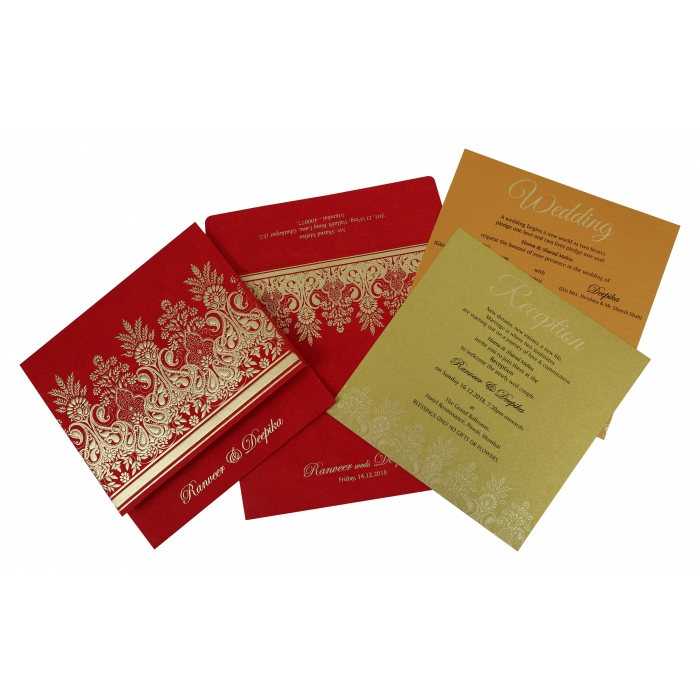 Red Matte Embossed Wedding Invitation : AS-1780 - A2zWeddingCards
