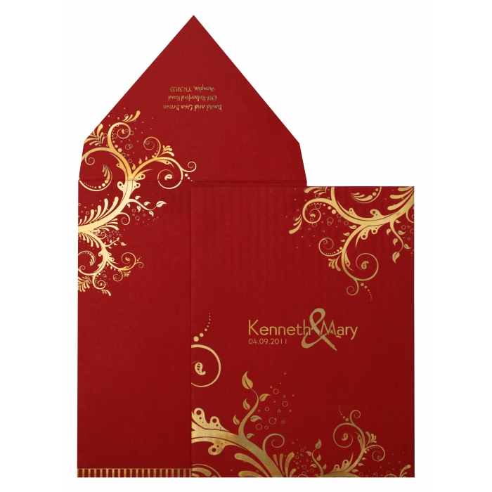 RED MATTE FLORAL THEMED - SCREEN PRINTED WEDDING INVITATION : AIN-833 - A2zWeddingCards